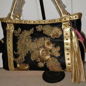 Beverly Feldman Black & Gold Leather Satchel